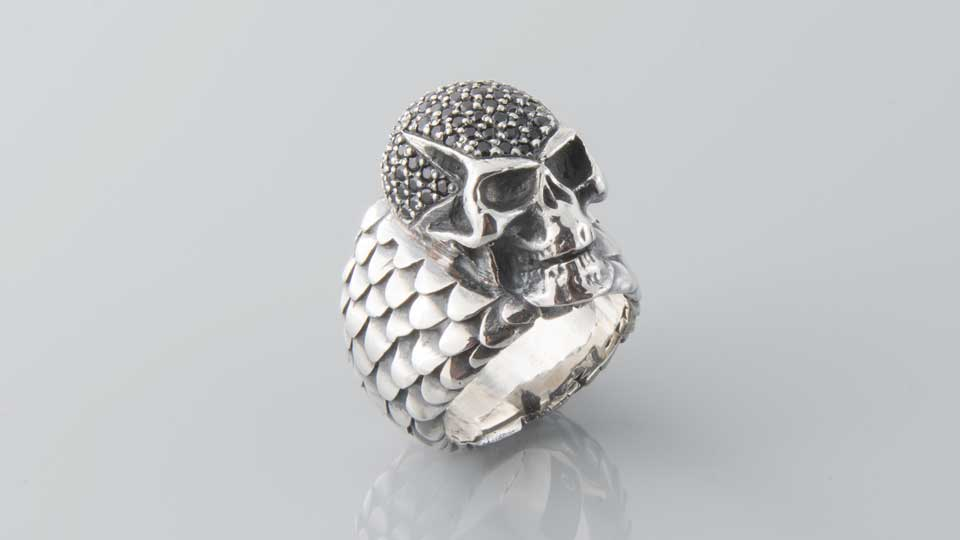 Men's jewellery scull ring sterling silver