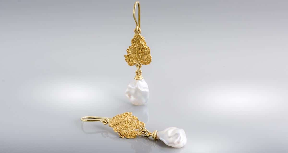 Artissimo Earrings 18ct Gold Natural Gold Nuggts and Keshi Perls