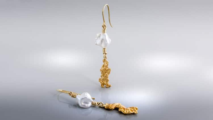 Artissimo Earrings,18ct Gold Natural Gold Nuggets and Keshi Pearls