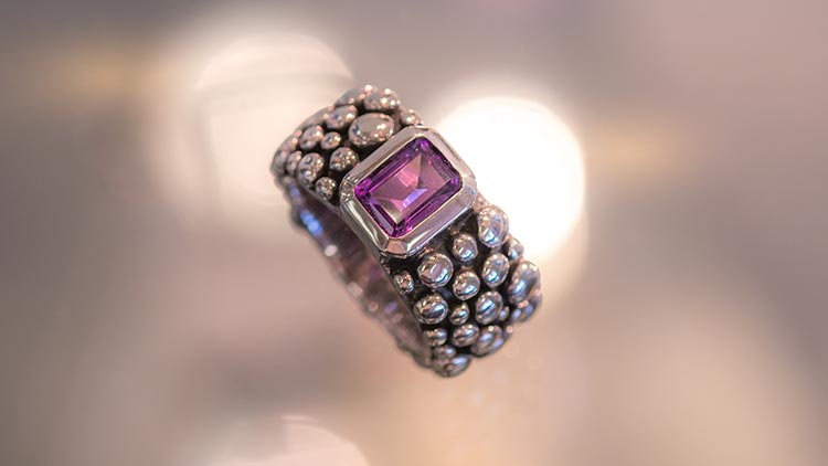 Artissimo Rings Sterling Silver Ring with Amethyst
