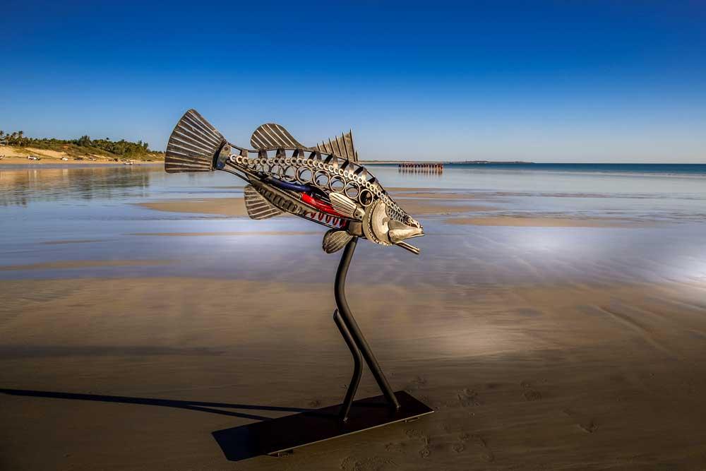 Barramundi metal sculpture