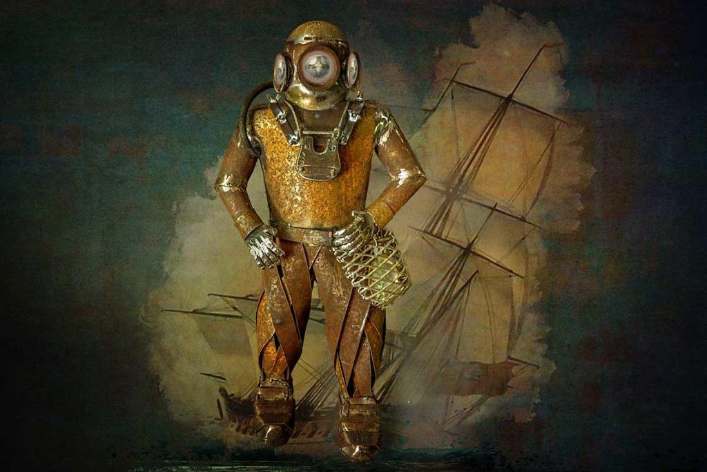 Pearl diver metal sculpture