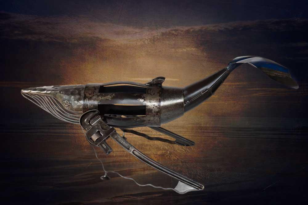Whale humpback  metal sculpture