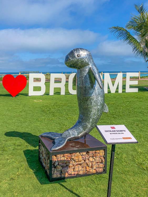 Snubfin dolphin metal sculpture