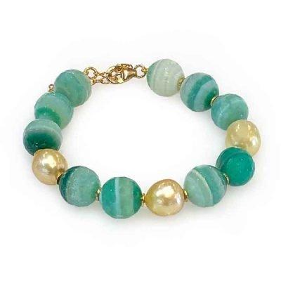 Bracelet green agate Pearls
