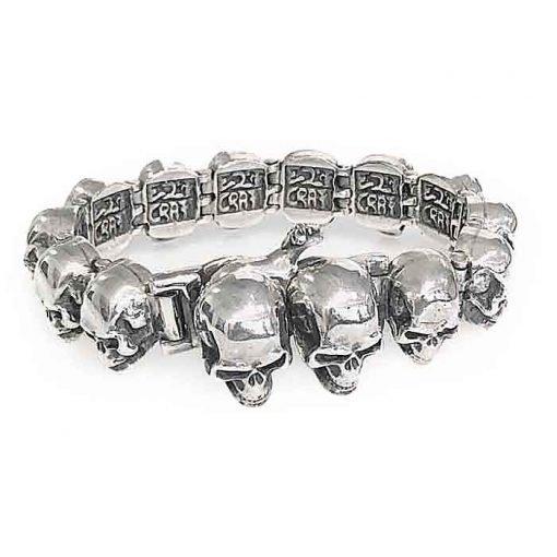 bracelet silver skull-tongs lock