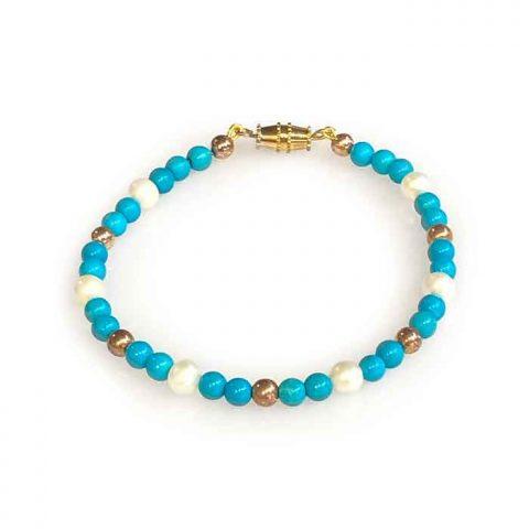 Bracelet Amazonite beads and pearls