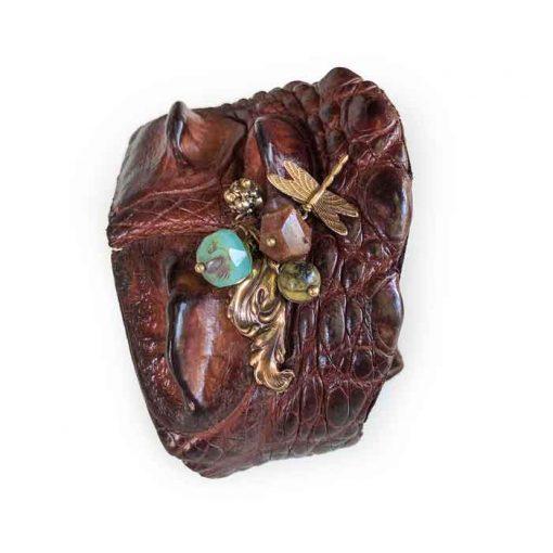 Crocodile-leather bracelet brass dragonfly glas bead