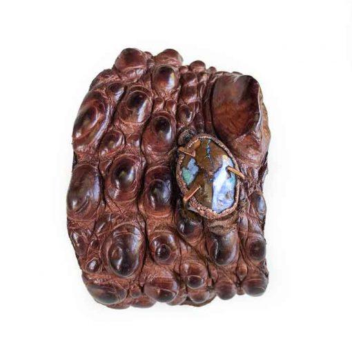 Crocodile-skin bracelet-with-opal