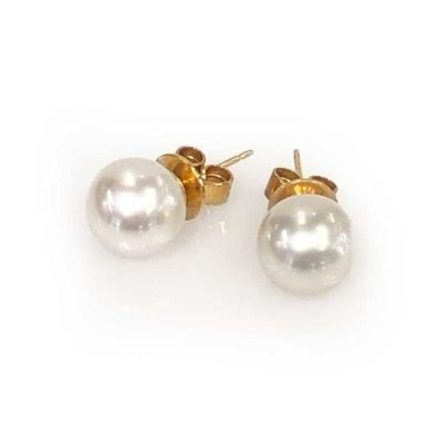 pearl stud earrings 9ct gold