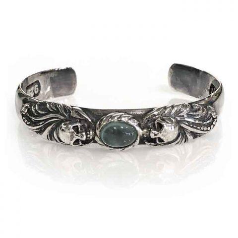 bangle silver skulls and moonstone jewellery