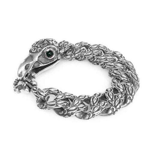 bracelet silver eagle skull clasp lock onyx eyes