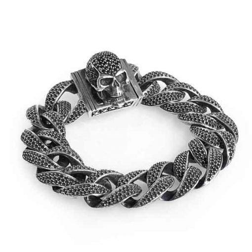 Bracelet Skull L pave+chain L royal onyx stones