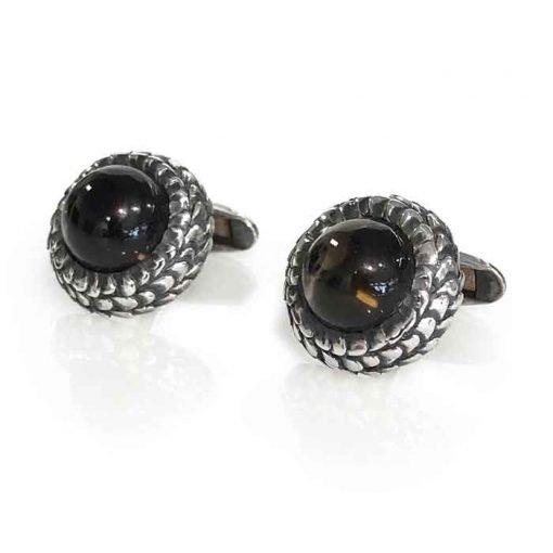 cufflinks silver with smoky quartz