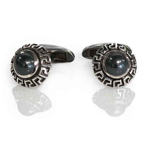 cufflinks silver Inka cone hematite cabochon