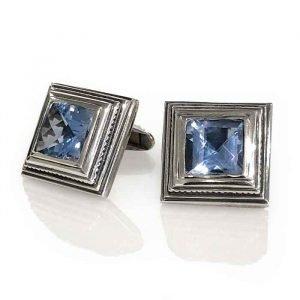 Cufflinks silver square aqua Zirconia checker cut $199