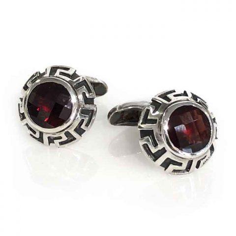 cufflinks silver inka cone red garnet