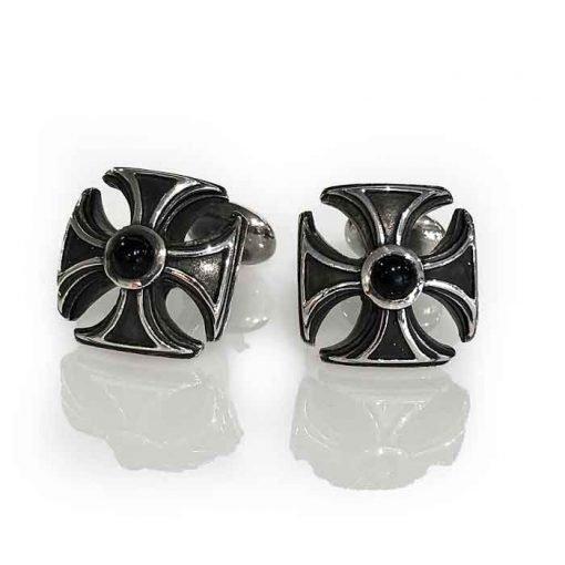 cufflinks silver maltese cross onyx cabochon