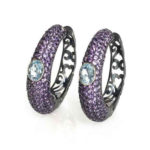 earrings silver Amethyst and sky blue topaz