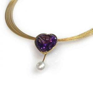 Pendant with Amethyst Heart and pearl jewellery