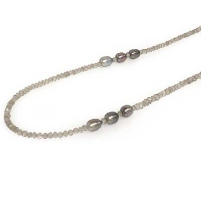 necklace smokey quartz tahitian pearls