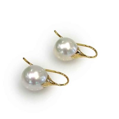 pearl hoop earrings-18ct-gold