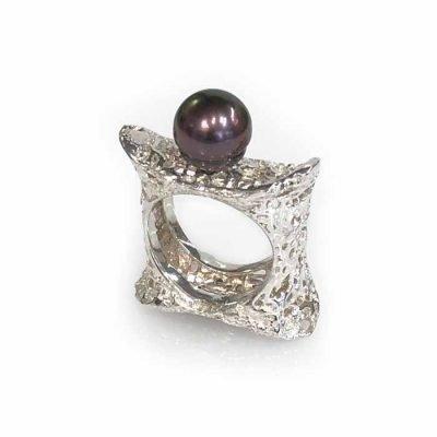 Rind silver black pearl