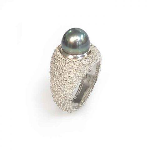 Ring Grain of Earth silver Tahitian south sea pearl