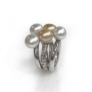 Ring sterling silver 3 white 2 gold south sea pearls