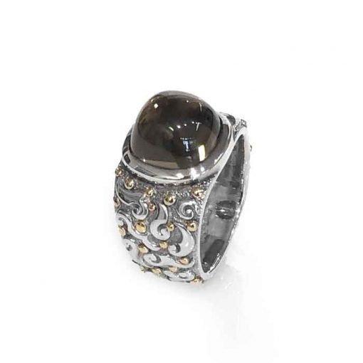 ring silver 18ct gold dots square smoky quartz