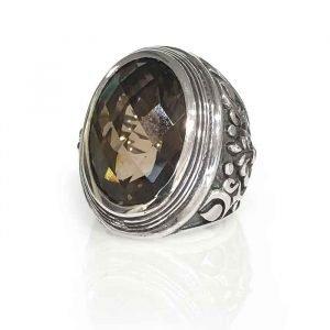 ring silver oval and smoky quartz checker