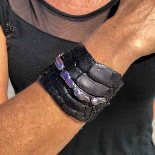 crocodile cuff bracelet with black keshi pearls