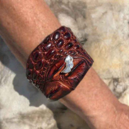 Model wearing Crocodile Cuff Bracelet with Keshi pearl