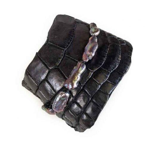 Black crocodile leathercuff bracelet and coloured-keshi-pearls