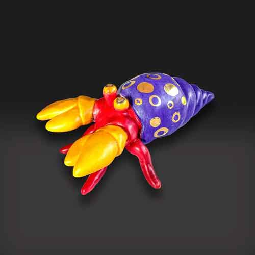 hermit crab purple colors,red and yellow