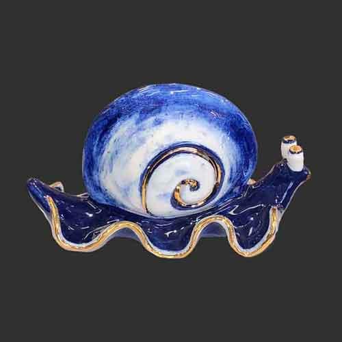 ceramic snail pottery elegant blue