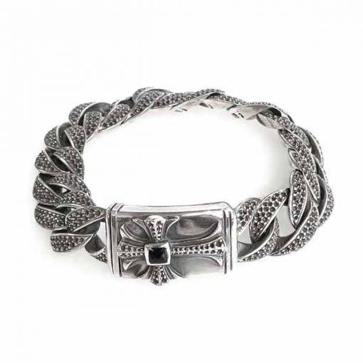 Dragon scale bracelet silver with smokey quartz