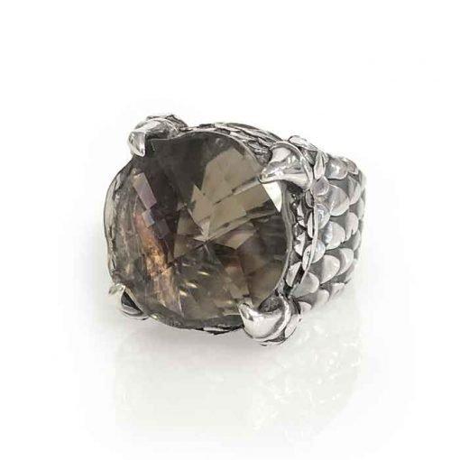 ring silver dragon claw with smokey quartz