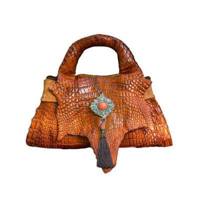 Crocodile Handbag-cognac colour