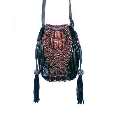 Crocodile-handbag-with tassels and black leather