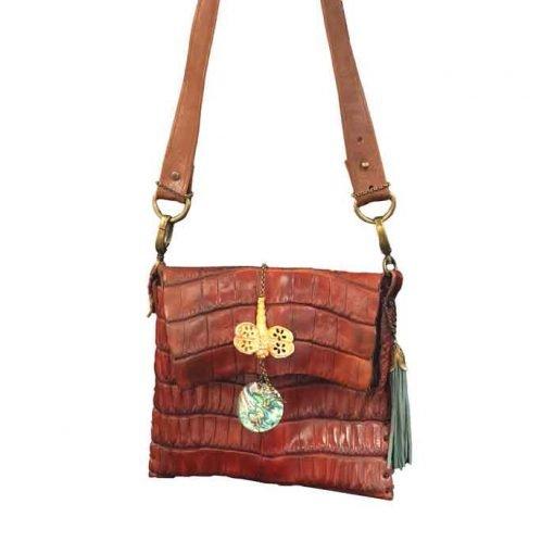 Crocodile leather shoulder bag brown colour