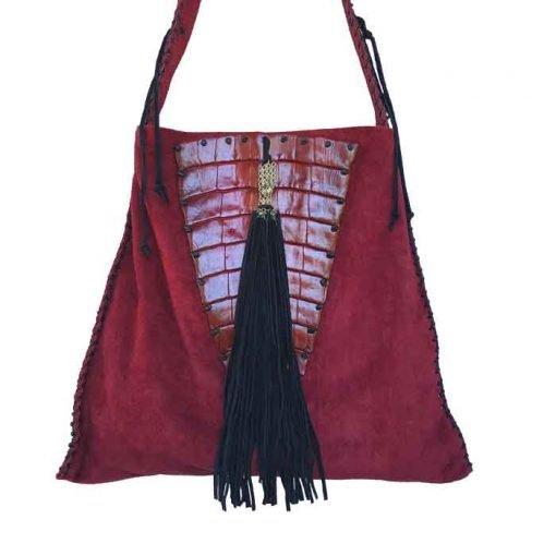 Crocodile handbag shoulder strap in red colour