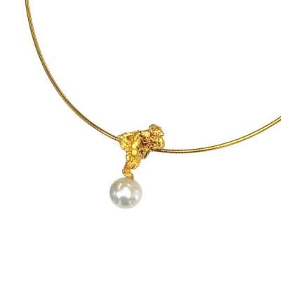 Necklace with pearl on gold nugget