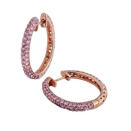 Earrings-silver-pink-sapphires