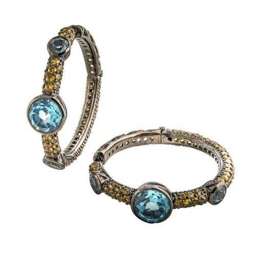 Earrings-silver-yellow-sapphires-blue-topaz