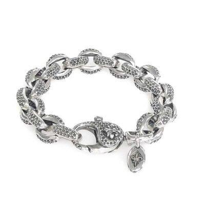 Silver bracelet curb chain royal karabiner lock