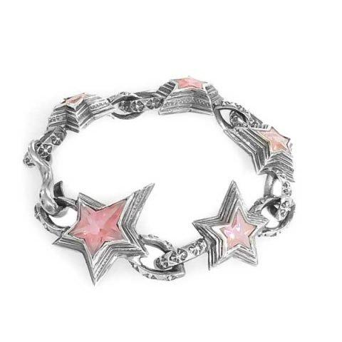 Bracelet shooting stars pink Zirconia
