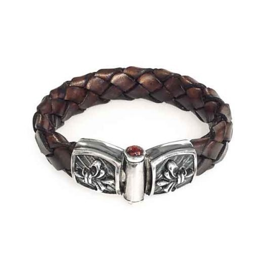 bracelet silver leather band lily buckle