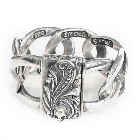 Sterling silver bracelet magic plant and skull