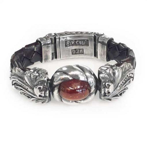 bracelet silver magic plant skull garnet stone